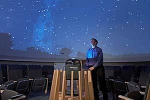 Image of projected stars and constellations inside the planetarium at McMaster