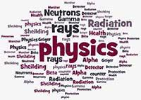 word cloud associated with the Health Physicist career path